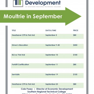 Photo for Economic Development Course Offerings in September.